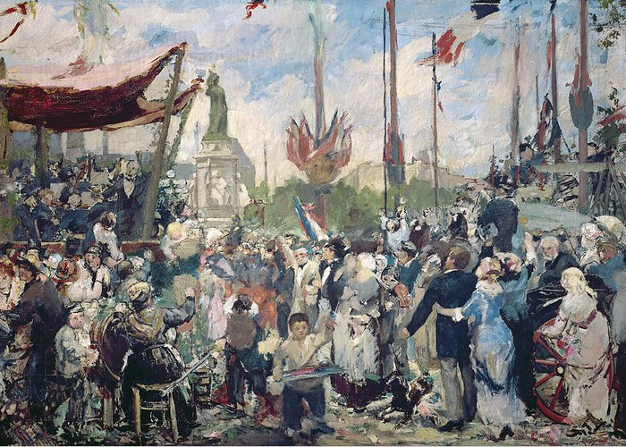Study Greeting Card featuring the painting Study For Le 14 Juillet 1880 by Alfred Roll