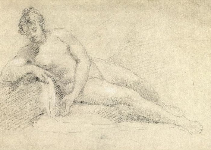 Study Greeting Card featuring the drawing Study Of A Female Nude by William Hogarth