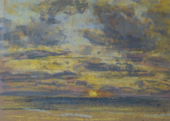 Study Greeting Card featuring the pastel Study Of The Sky With Setting Sun by Eugene Louis Boudin