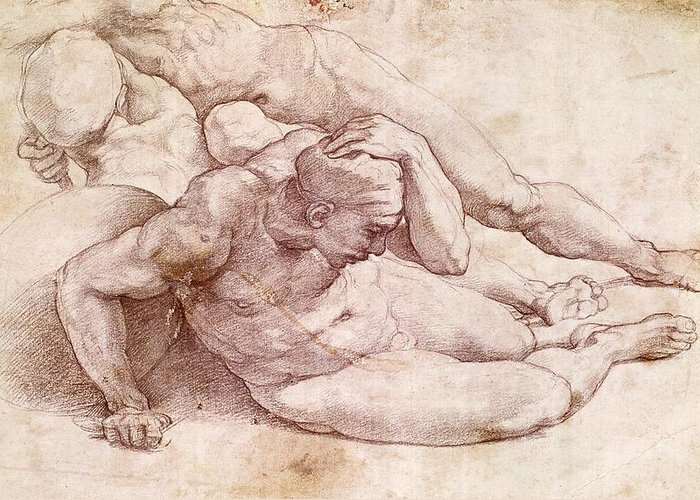 Study Of Three Male Figures (after Raphael) By Michelangelo Buonarroti (1475-1564) Greeting Card featuring the painting Study Of Three Male Figures by Michelangelo