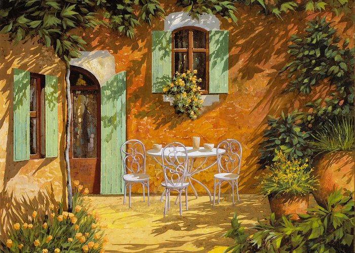 Quiete Greeting Card featuring the painting Sul Patio by Guido Borelli