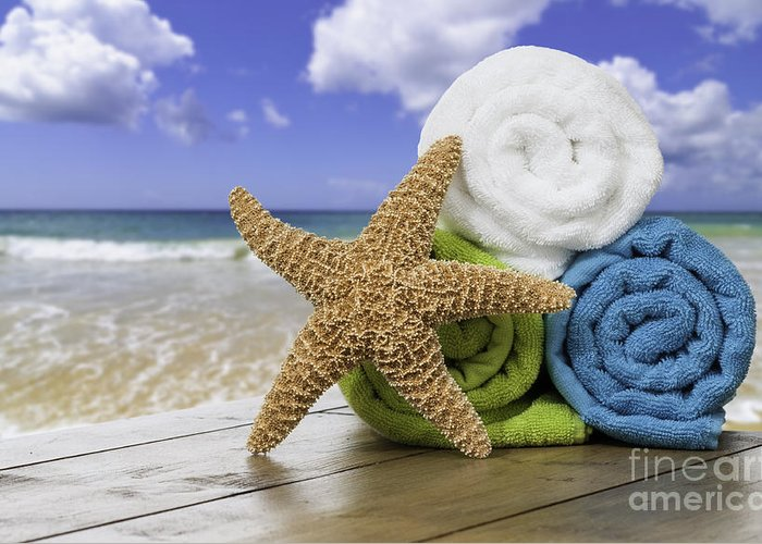 Summer Greeting Card featuring the photograph Summer Beach Towels by Amanda And Christopher Elwell