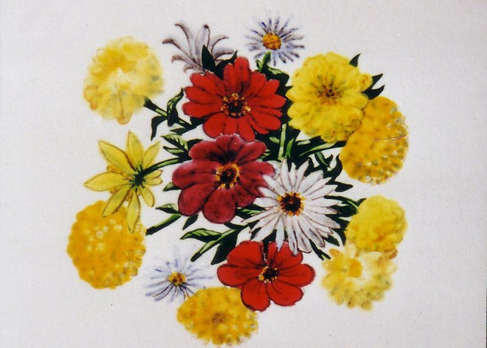 Flowers Greeting Card featuring the painting Summer Bouquet by Dy Witt