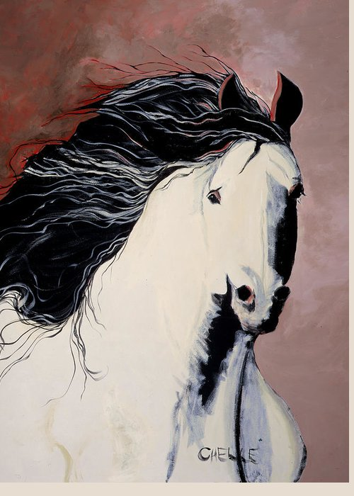 Horse Greeting Card featuring the painting Summer Breezes by Chelle Fazal