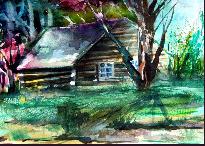 Cabin Greeting Card featuring the painting Summer Cabin by Mindy Newman