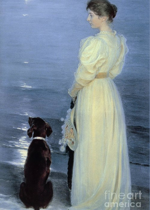 Summer Evening At Skagen Greeting Card featuring the painting Summer Evening At Skagen by Peder Severin Kroyer