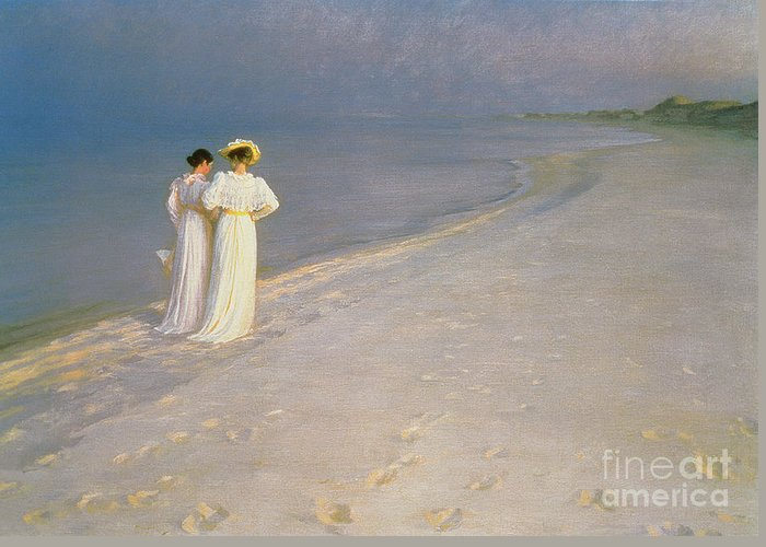 Kroyer Greeting Card featuring the painting Summer Evening On The Skagen Southern Beach With Anna Ancher And Marie Kroyer by Peder Severin Kroyer