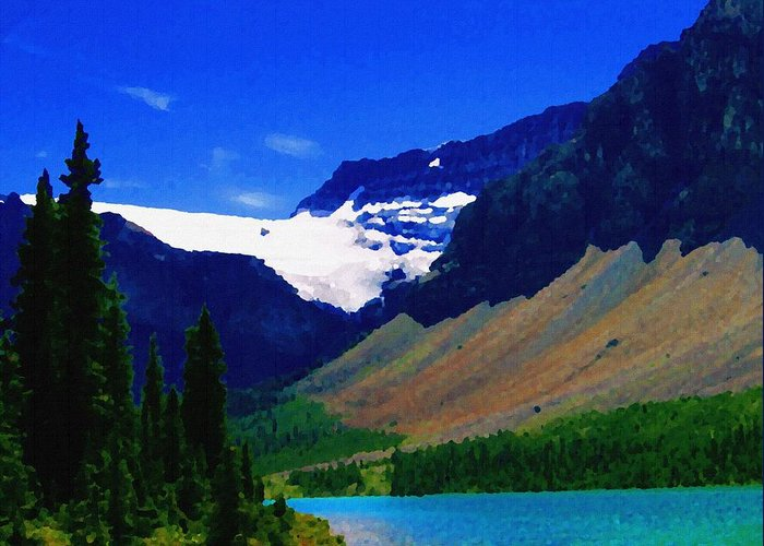 Scenic Greeting Card featuring the photograph Summer Glacier Over Mountain Lake by Greg Hammond
