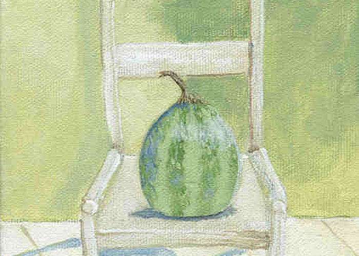 White Chair Greeting Card featuring the painting Summer Melon by Laurel Porter-Gaylord