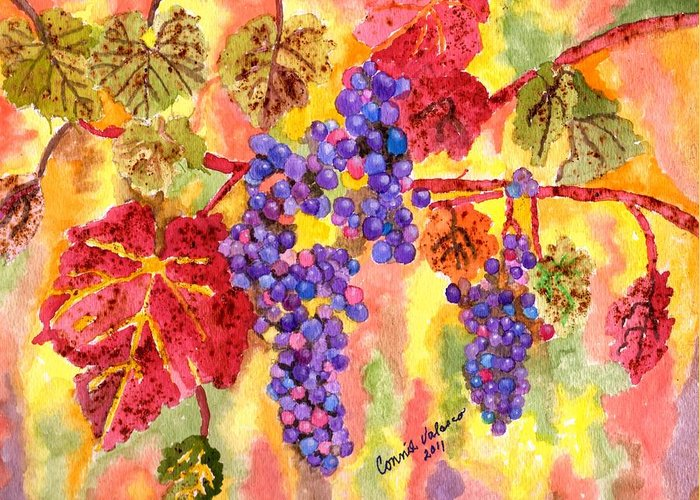 Purple Grapes Greeting Card featuring the painting Summers Fullest by Connie Valasco