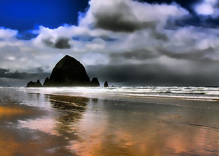 Cannon Beach Greeting Card featuring the photograph Sun Shining On Haystack Rock by David Patterson