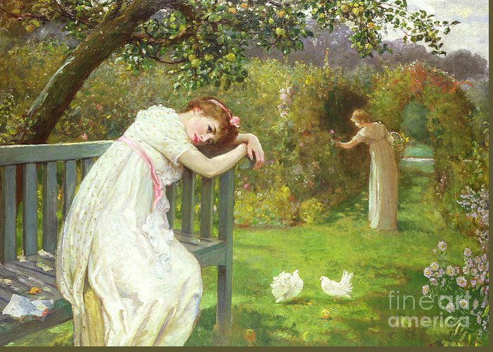 Sunday Afternoon Greeting Card featuring the painting Sunday Afternoon - Ladies In A Garden by English School