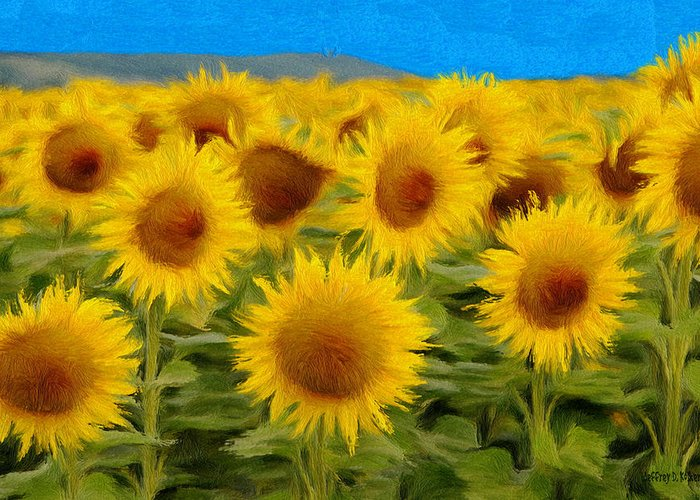Sunflower Greeting Card featuring the painting Sunflowers In The Field by Jeff Kolker