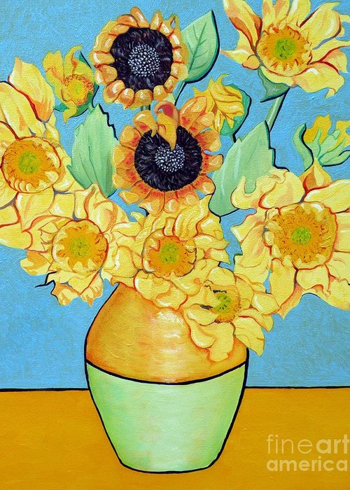 Sunflower Greeting Card featuring the painting Sunflowers Tribute To Vincent Van Gogh II by Christine Belt