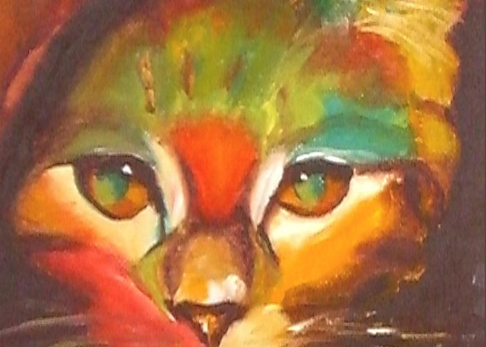 Cat Greeting Card featuring the painting Sunkist by Susan A Becker