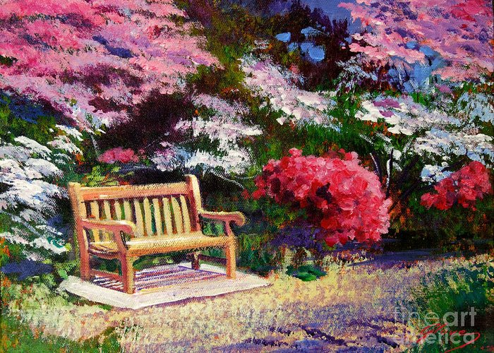 Gardens Greeting Card featuring the painting Sunny Bench Plein Aire by David Lloyd Glover