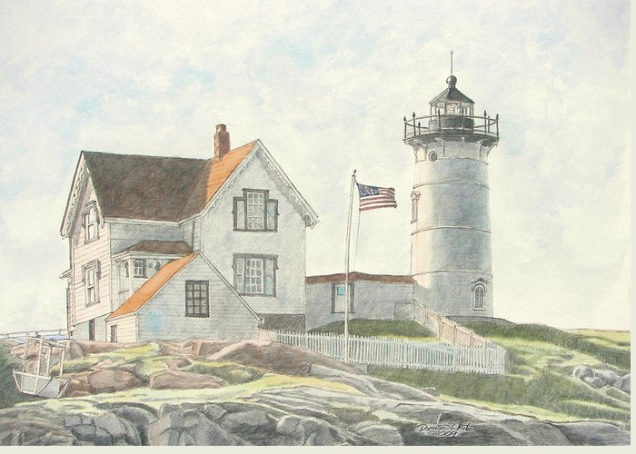 Watercolor Greeting Card featuring the painting Sunrise At Nubble Light by Dominic White