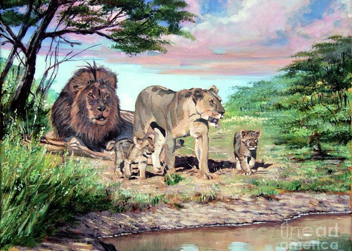 Lions Greeting Card featuring the painting Sunrise At The Oasis by David Lloyd Glover