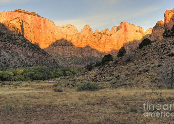 Hdr Greeting Card featuring the photograph Sunrise On East Temple by Sandra Bronstein