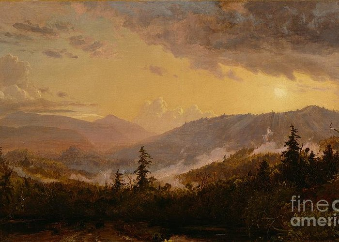 Sunset Greeting Card featuring the painting Sunset After A Storm In The Catskill Mountains by Jasper Francis Cropsey