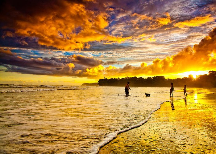 Landscape Greeting Card featuring the photograph Sunset At The Coast by Iris Greenwell