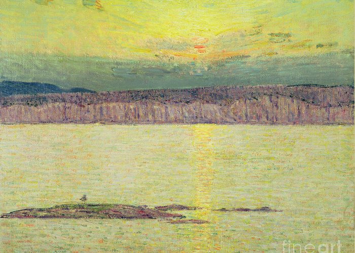 Sunset Ironbound Greeting Card featuring the painting Sunset by Childe Hassam