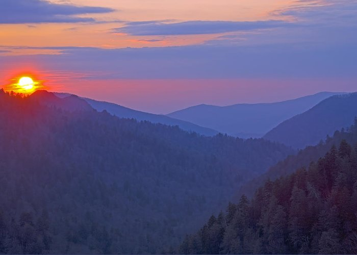 Sunset Greeting Card featuring the photograph Sunset In Great Smoky Mountain National Park Tennessee by Brendan Reals