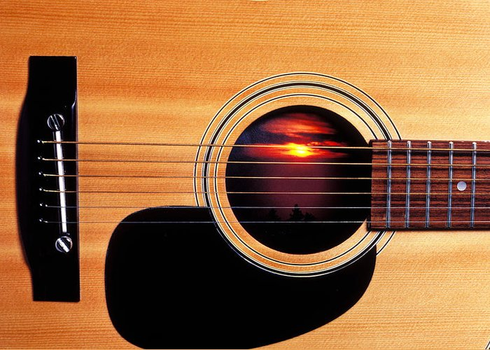 Guitar Greeting Card featuring the photograph Sunset In Guitar by Garry Gay