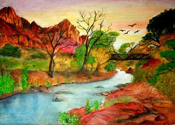 Zion Greeting Card featuring the drawing Sunset In Zion by Joanna Aud