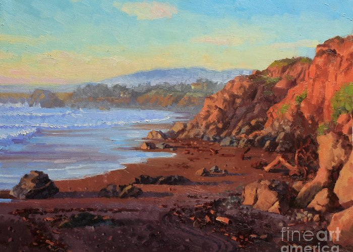 Sunset On Cambria Ca Greeting Card featuring the painting Sunset On Cambria Ca by Gary Kim