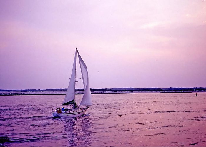 Sailboat Greeting Card featuring the photograph Sunset Sailing by Bill Jonscher