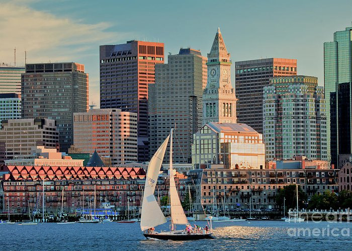 Boat Greeting Card featuring the photograph Sunset Sails On Boston Harbor by Susan Cole Kelly