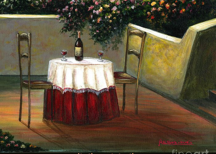 Angelica Dichiara Greeting Card featuring the painting Sunset Table by Italian Art