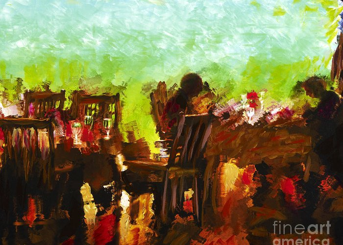 Dining Greeting Card featuring the mixed media Sunset Terrace Intimacy by Marilyn Sholin
