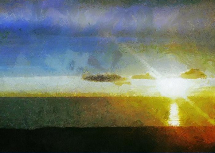 Canadian Greeting Card featuring the painting Sunset Under The Clouds by Jeff Kolker
