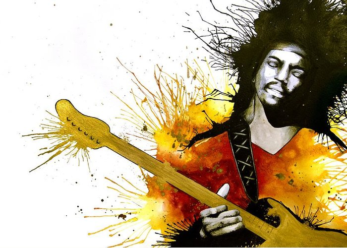 Jimi Hendrix Greeting Card featuring the painting Sunshine Of Your Love by Amber Bambler Keller