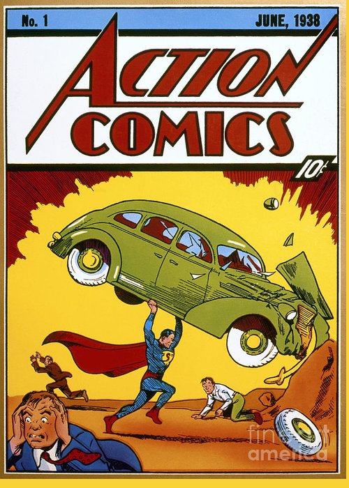 1938 Greeting Card featuring the photograph Superman Comic Book, 1938 by Granger