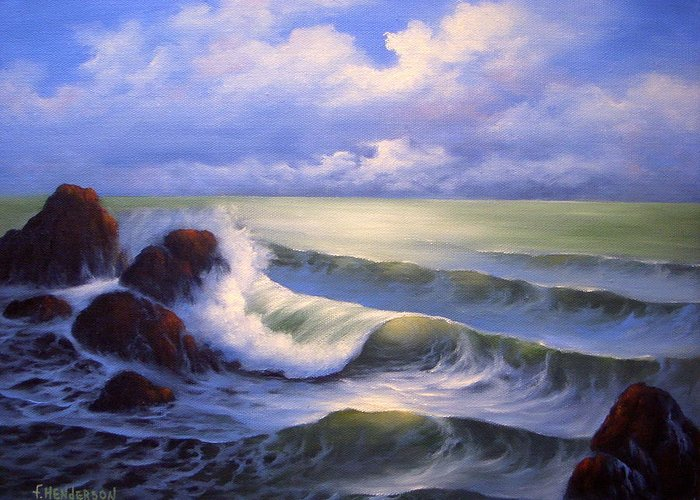 Surf Greeting Card featuring the painting Surf Melody by Francine Henderson