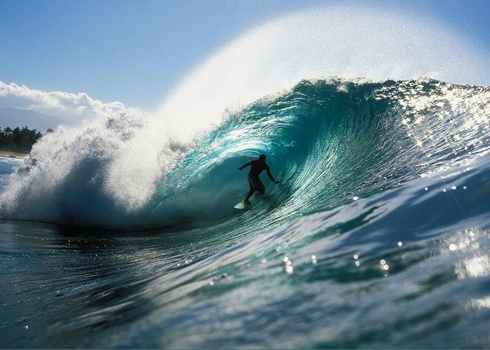 Adrenaline Greeting Card featuring the photograph Surfer At Pipeline by Vince Cavataio - Printscapes