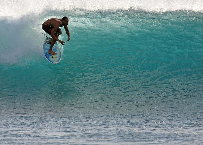 Surfer Greeting Card featuring the photograph Surfer Dropping In The Blue Waves At Dumps Maui Hawaii by Pierre Leclerc Photography