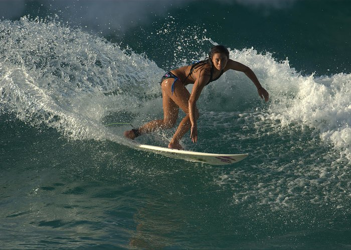 Surfer Girl Greeting Card featuring the photograph Surfer Girl by Brad Scott