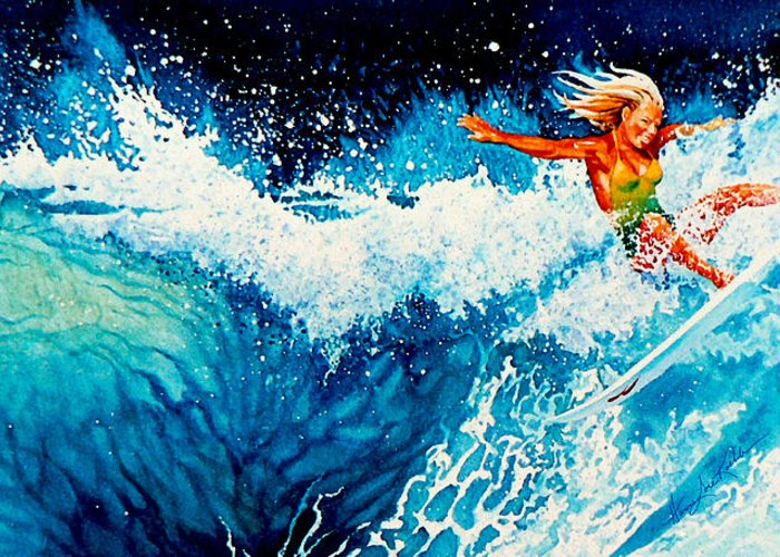 Sports Art Greeting Card featuring the painting Surfer Girl by Hanne Lore Koehler