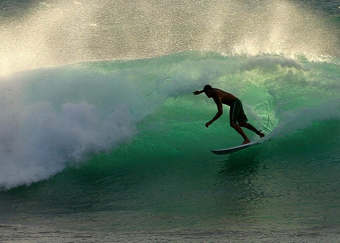 Surfer Greeting Card featuring the photograph Surfer Surfing Blue Waves At Dumps Maui Hawaii by Pierre Leclerc Photography