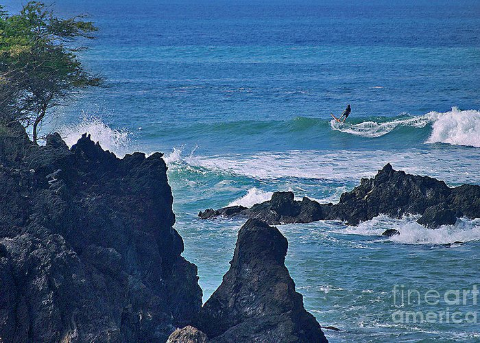 Surfing Greeting Card featuring the photograph Surfing The Rugged Coastline by Bette Phelan