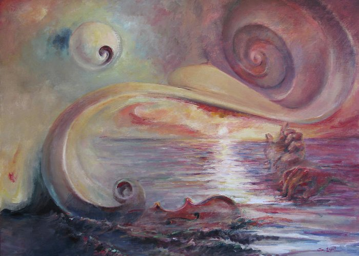 Surrealistic Greeting Card featuring the painting Surrealistic Improvisation by Tigran Ghulyan