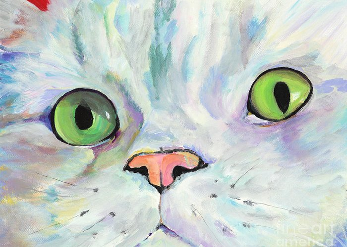 Kitten Greeting Card featuring the painting Sweet Puss by Pat Saunders-White