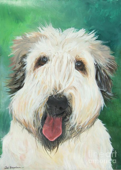 Abstract Dog Paintings Greeting Card featuring the painting Sweet Wheaton by Deb Magelssen