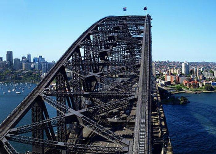 Horizontal Greeting Card featuring the photograph Sydney Harbour Bridge by Melanie Viola