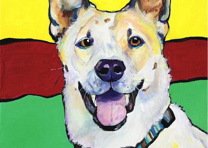 Animal Portraits Greeting Card featuring the painting Sydney by Pat Saunders-White
