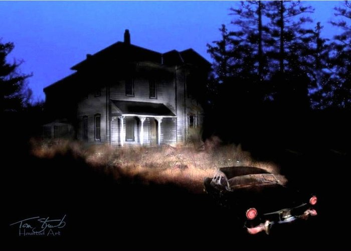 Haunted House Greeting Card featuring the digital art Tail Lights by Tom Straub